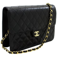 CHANEL Chain Shoulder Bag Black Clutch Flap Quilted Purse Lambskin Leather