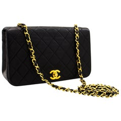 CHANEL Chain Shoulder Bag Black Flap Quilted Lambskin Leather