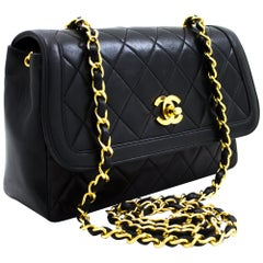 CHANEL Chain Shoulder Bag Black Quilted Single Flap Lambskin Leather