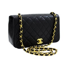 CHANEL Chain Shoulder Crossbody Bag Black Flap Quilted Lambskin Leather