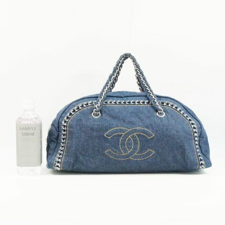 CHANEL chain shoulder  Womens Boston bag Navy x silver hardware For Sale 9