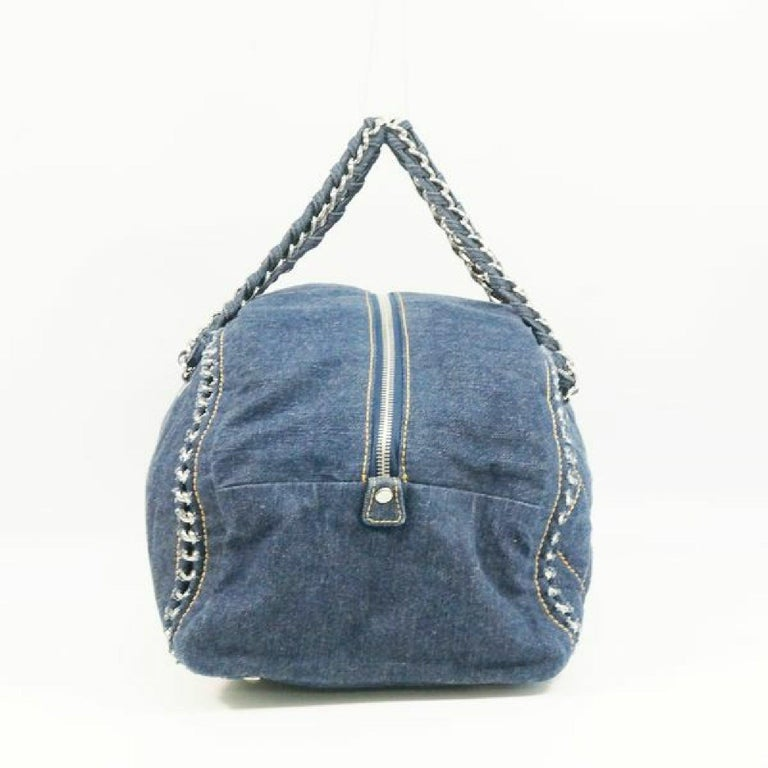 An authentic CHANEL chain shoulder  Womens Boston bag Navy x silver hardware. The color is Navy x silver hardware. The outside material is Denim. The pattern is chain shoulder. This item is Contemporary. The year of manufacture would be