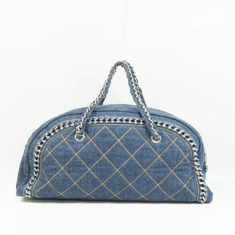 CHANEL chain shoulder  Womens Boston bag Navy x silver hardware In Good Condition For Sale In Takamatsu-shi, JP