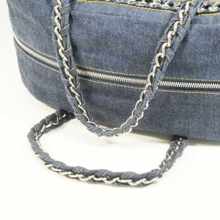 CHANEL chain shoulder  Womens Boston bag Navy x silver hardware For Sale 3