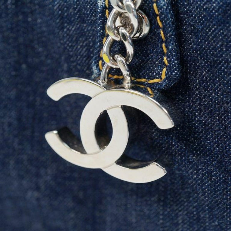 CHANEL chain shoulder  Womens Boston bag Navy x silver hardware For Sale 5