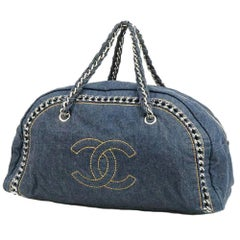 CHANEL chain shoulder  Womens Boston bag Navy x silver hardware