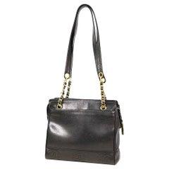 CHANEL chain tote triple coco Womens tote bag black x gold hardware