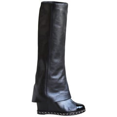 Chanel Chain-Trimmed Wedge Leather Knee Boots