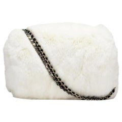 Chanel Chain Vintage Muff Black and White Grey Tweed Fur Lizard Cross Body Bag
