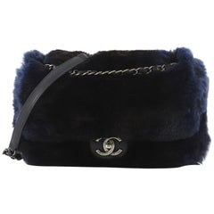 Chanel Chain Zip CC Flap Bag Fur And Quilted Lambskin Medium