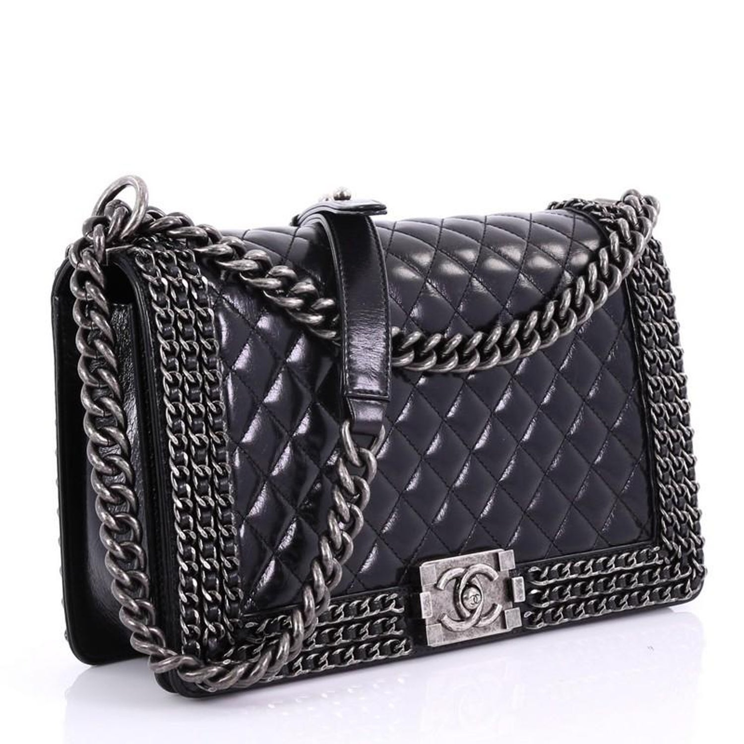 f976879c3bca Chanel Chained Boy Flap Bag Quilted Glazed Calfskin New Medium at 1stdibs