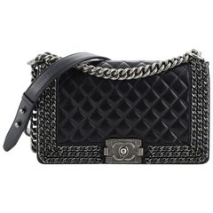 Chanel Chained Boy Flap Bag Quilted Glazed Calfskin Old Medium