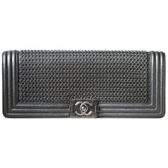 Chanel Chainmail and Leather Long Boy Clutch