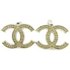 Chanel Champagne Gold Textured Logo Charm CC Logo Evening Stud Earrings