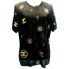 CHANEL Chanel 2019 Black Mesh and CC Sequin Pullover - Black,Gold,Rose Gold