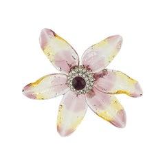 Chanel Chanel Crystal Lily Petal Brooch