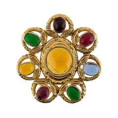 Chanel Chanel Gripoix Glass Floral Motif Brooch