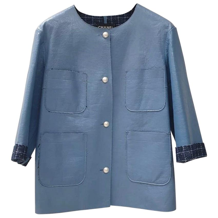 Chanel Chanel Light Blue Lambskin Leather Contrast Lined Pearl Buttoned Jacket