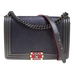 Chanel Metallic Grey Cube Embossed Leather New Medium Boy Flap Bag