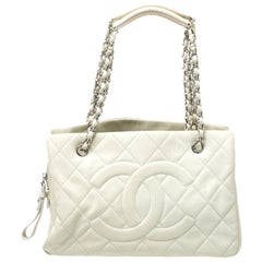 Chanel Off White Quilted Caviar Leather Timeless Shopper Tote