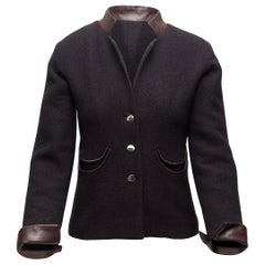 Chanel Charcoal & Brown Wool & Leather Jacket