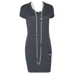 Chanel Charcoal Cashmere Knit Dress Camellia Coco Chanel Paris