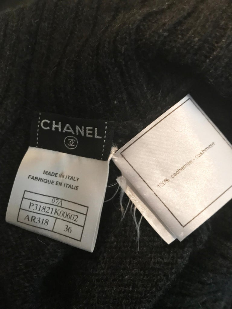 Chanel Charcoal Grey Cashmere Cage Sleeve Dress 2007a For Sale 8