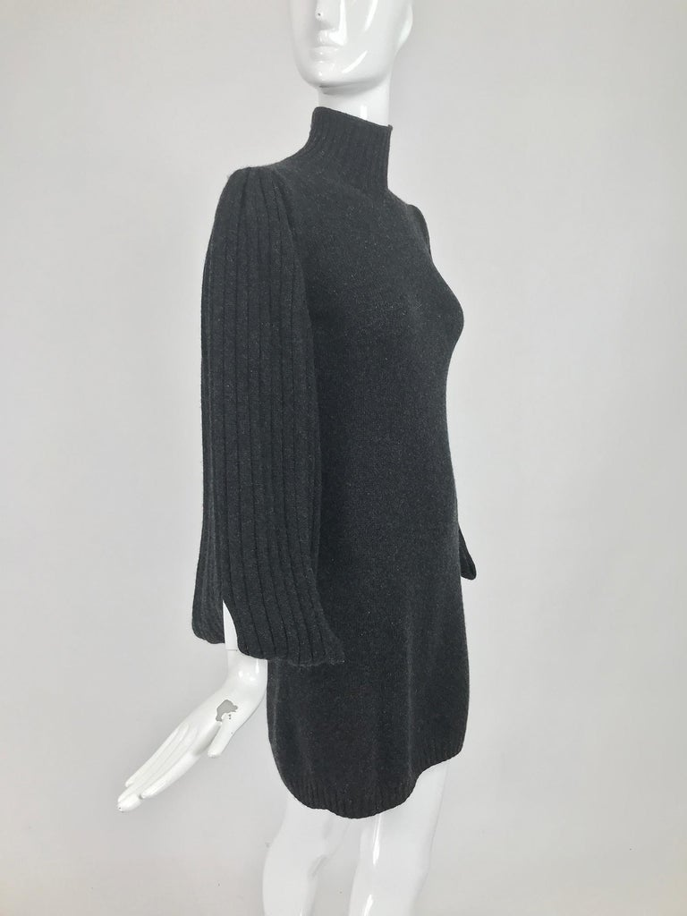 Chanel Charcoal Grey Cashmere Cage Sleeve Dress 2007a In Good Condition For Sale In West Palm Beach, FL