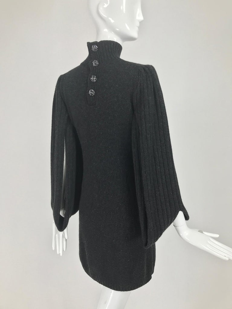 Chanel Charcoal Grey Cashmere Cage Sleeve Dress 2007a For Sale 1