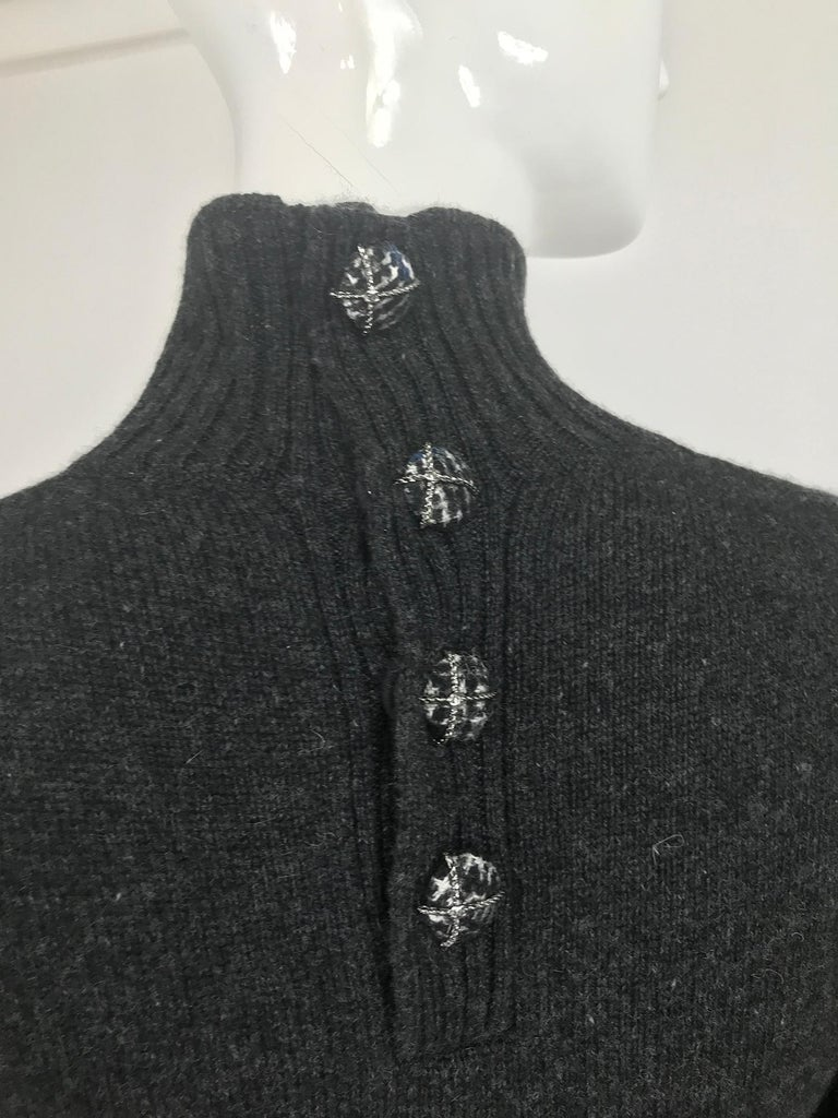 Chanel Charcoal Grey Cashmere Cage Sleeve Dress 2007a For Sale 5