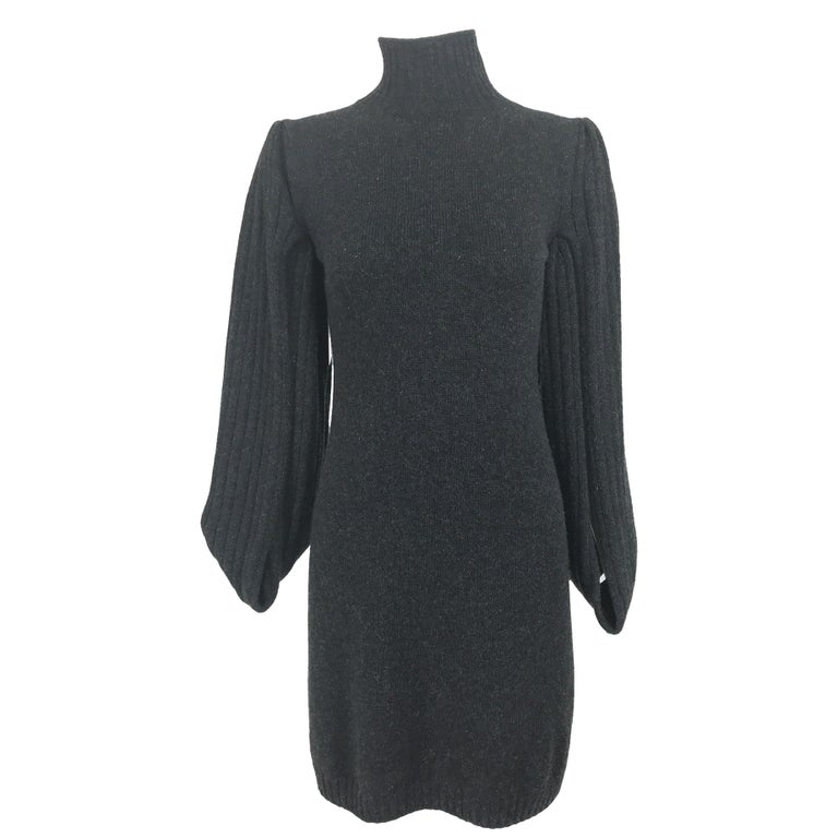 Chanel Charcoal Grey Cashmere Cage Sleeve Dress 2007a For Sale