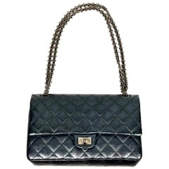 CHANEL Charcoal Sheepskin Ruthenium Metal Reissue 2.55 Double Flap Handbag