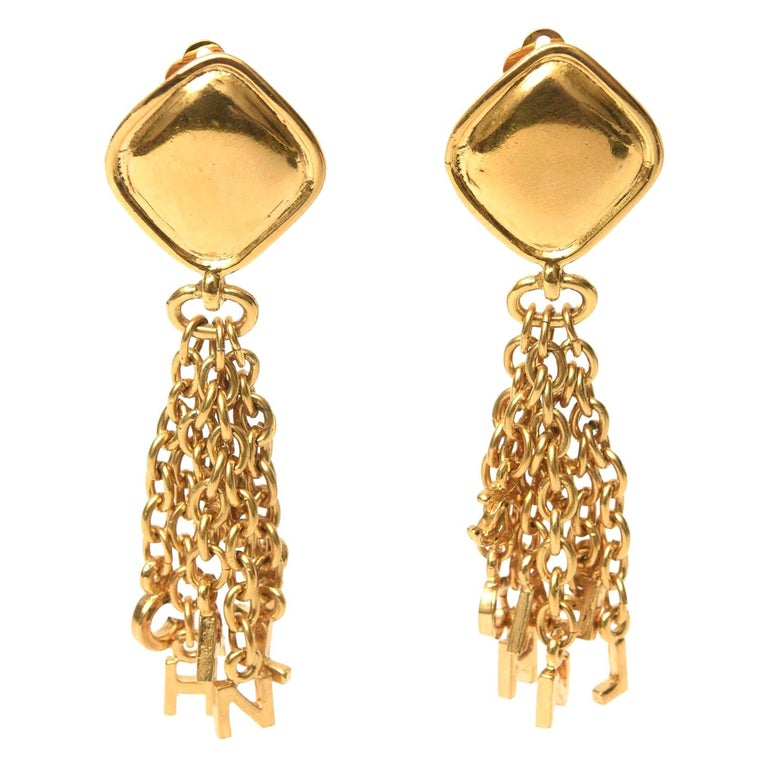 Chanel Charm Dangle Clip On Earrings Vintage For Sale