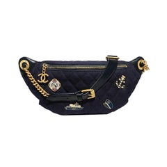 Chanel Charm Embellished Quilted Lambskin and Wool Waist Bag