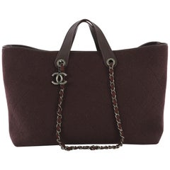 Chanel Charm Shopper Tote Quilted Wool Large
