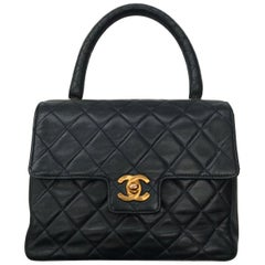 Chanel charming midnight blue quilted leather bag