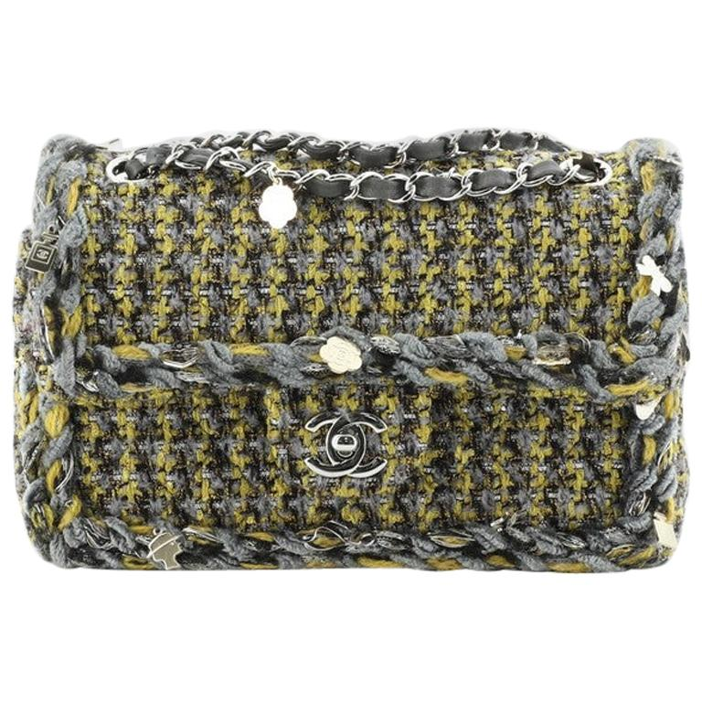 Chanel Charms Classic Double Flap Bag Braided Quilted Tweed Small