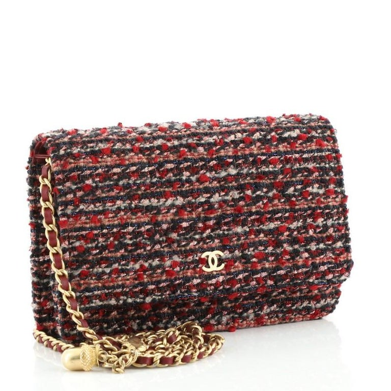 Black Chanel Charms Wallet on Chain Quilted Tweed For Sale
