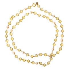 Chanel Chartreuse Beveled Crystals And Faux Pearl Sautoir Necklace Vintage