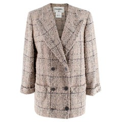 Chanel Checkered Cotton Tweed Double Breasted Collarless Jacket - Size US 10