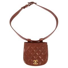 CHANEL chestnut brown quilted Caviar leather VINTAGE 1990 Belt Bag