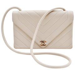 Chanel Chevron CC Ivory quilted shoulderbag Vintage