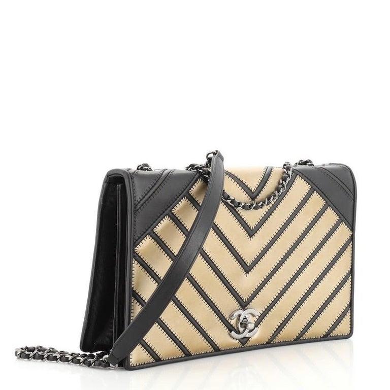Beige Chanel Chevron Couture Flap Bag Stitched Chevron Lambskin Medium For Sale