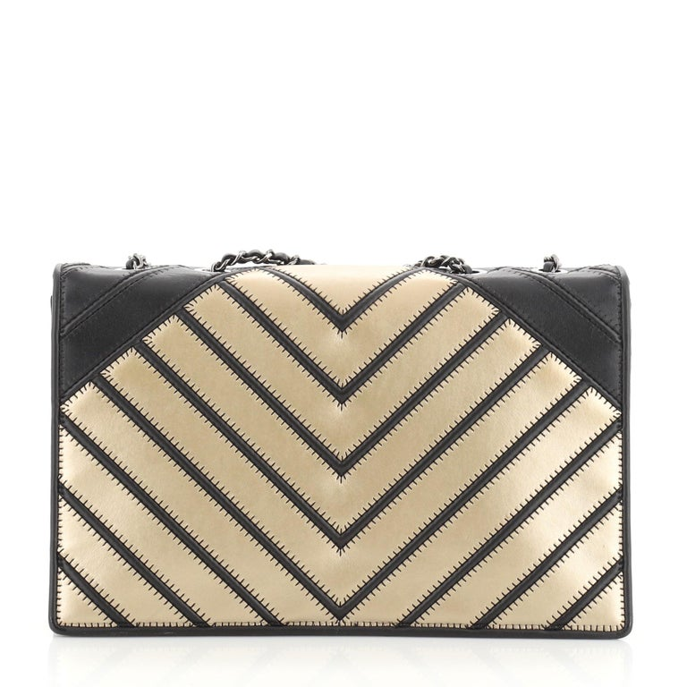 Chanel Chevron Couture Flap Bag Stitched Chevron Lambskin Medium In Good Condition For Sale In New York, NY