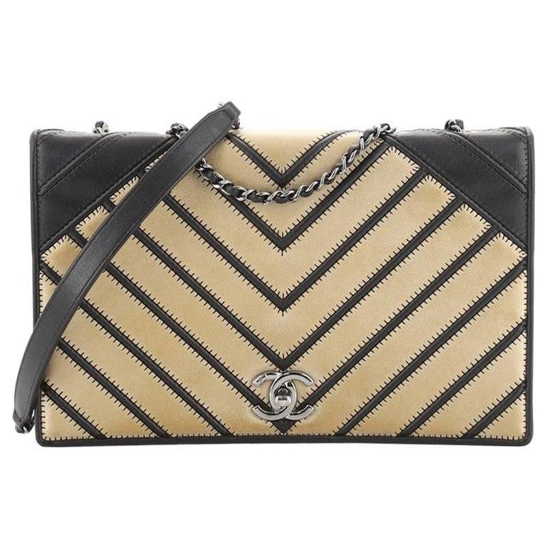 Chanel Chevron Couture Flap Bag Stitched Chevron Lambskin Medium For Sale