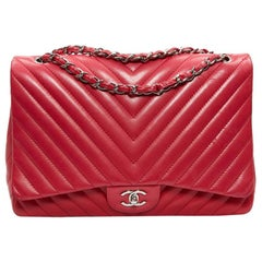 CHANEL Chevron Jumbo Leather Pink Fuchsia