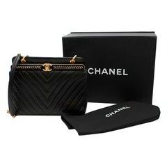 Chanel Chevron Lambskin Black Stitched Chain Top Handle Bag