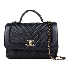 Chanel Chevron Top Handle Flap Bag