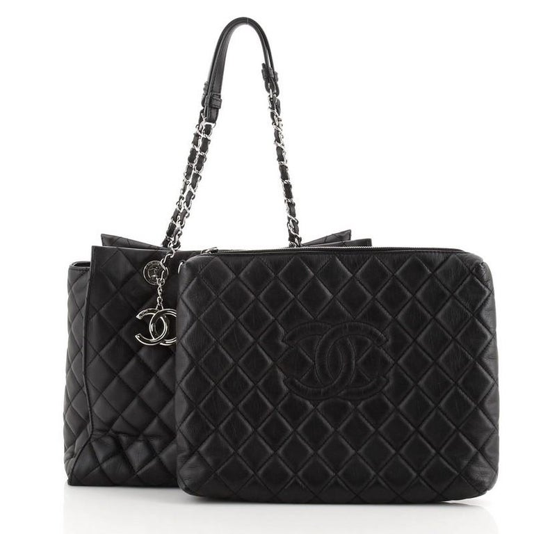 Black Chanel Chic and Soft Shopping Tote Quilted Calfskin Large For Sale