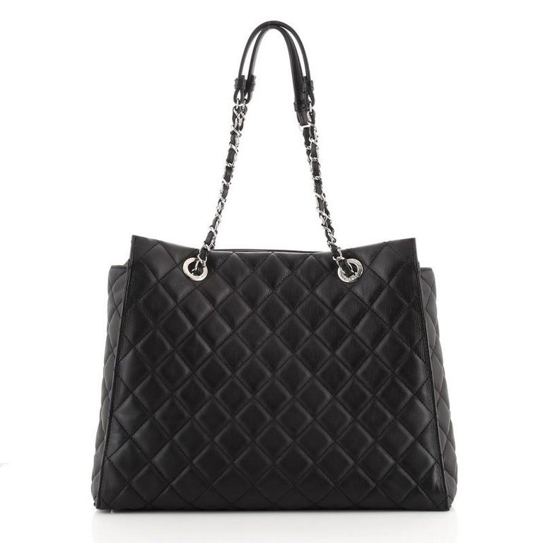 Women's or Men's Chanel Chic and Soft Shopping Tote Quilted Calfskin Large For Sale